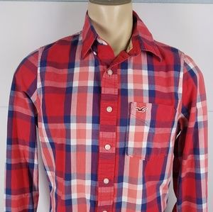 Hollister Long Sleeve Button Front Shirt Plaid L